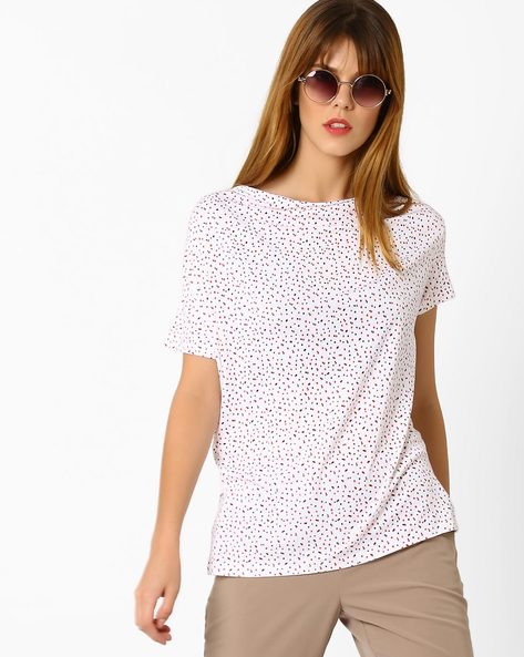 Ditsy Print Top With Cowl Neck By AJIO ( White )
