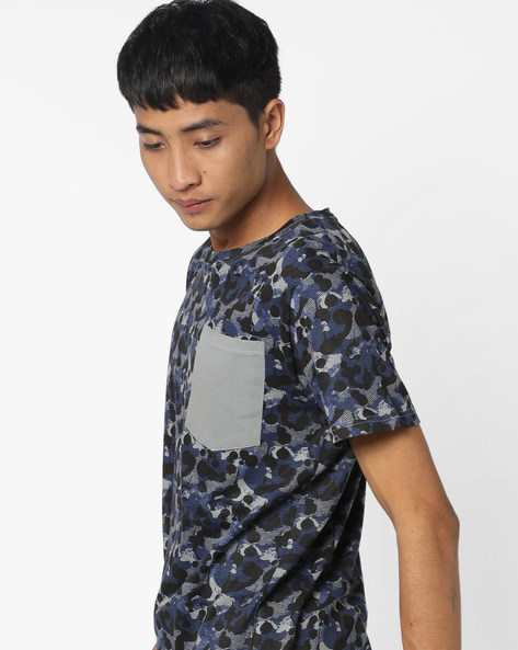 Printed Slim T-shirt With Contrast Pocket By Blue Saint ( Navy )