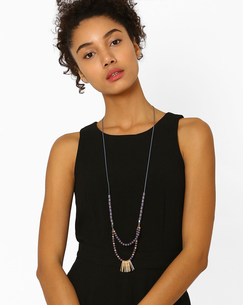 Layered Necklace With Beads By BLUEBERRY ( Grey )
