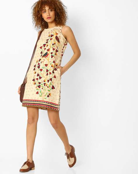 Printed Shift Dress With Side Pockets By Global Desi ( Natural )