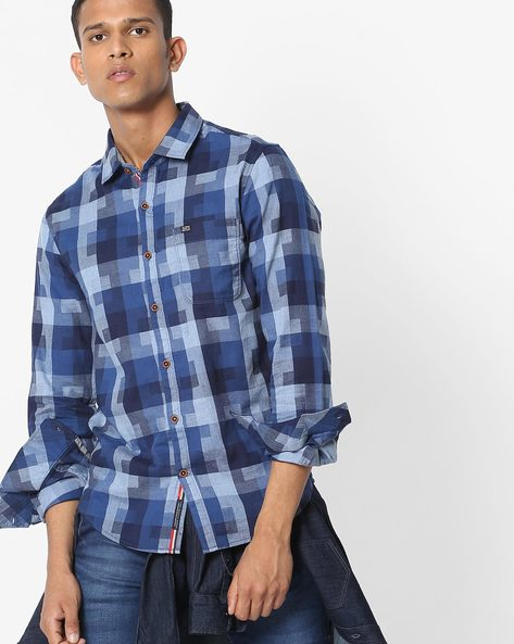 Slim Fit Checked Shirt With Patch Pocket By The Indian Garage Co ( Blue ) - 460191604004