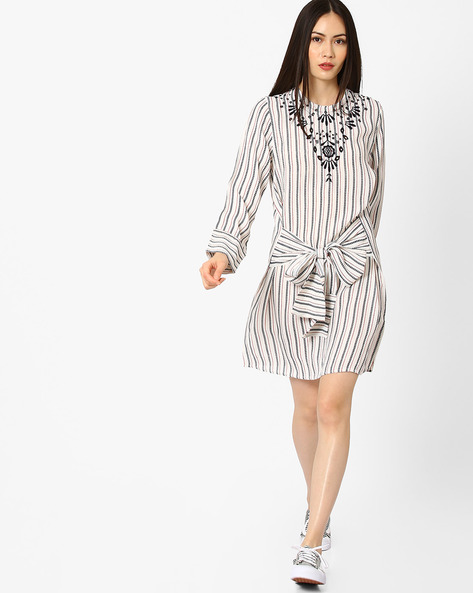 Striped Dress With Embroidery By Rena Love ( Multi )