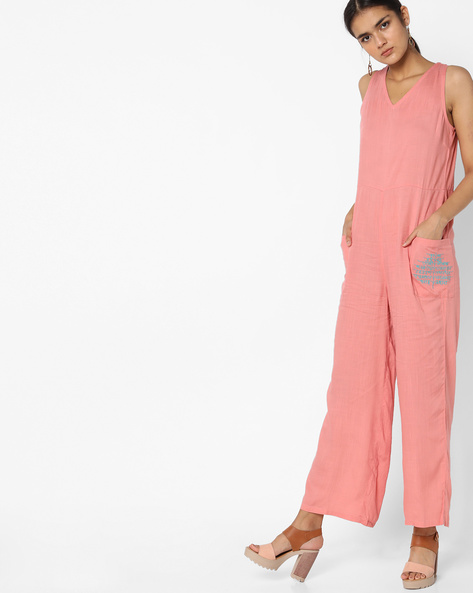 Jumpsuit With Patch Pockets By AJIO ( Peach )