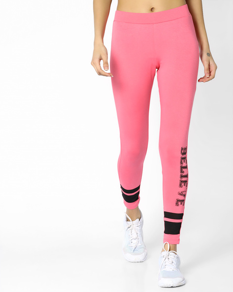 Mid-Rise Skinny Fit Leggings By AJIO ( Pink )