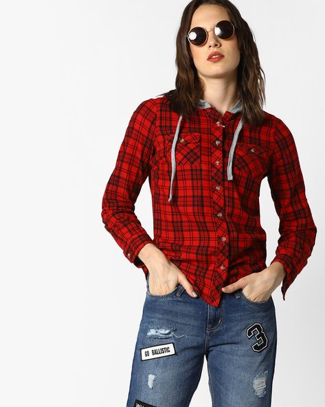 Hooded Checked Shirt By DNMX ( Red )