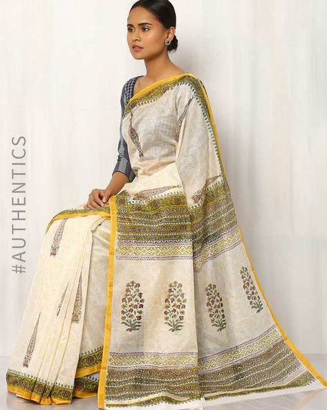 Hand Block Print Chanderi Saree By Indie Picks ( Multi ) - 460016413001