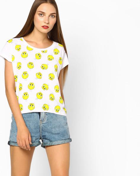 Tweety Print Crew-Neck T-shirt By Free Authority ( White )