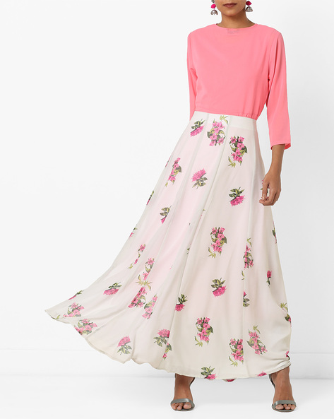 Floral Print Panelled Skirt By AJIO ( Offwhite )