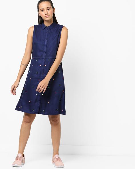 Sleeveless Shirt Dress With Embroidery By Khimsariya ( Navy )