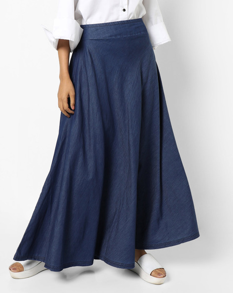 Denim Maxi Skirt By AJIO ( Indigo )