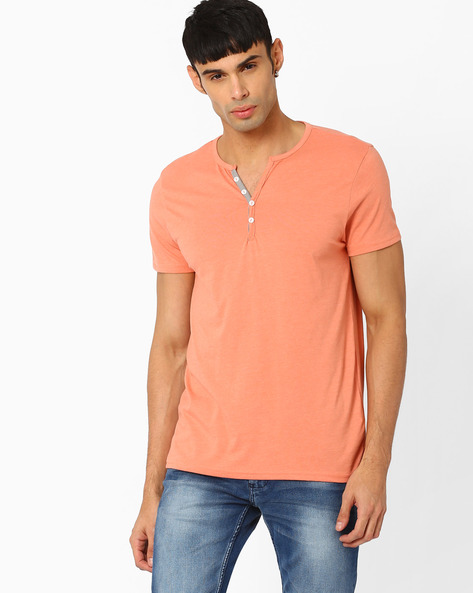 Slub-Knit Henley T-shirt By AJIO ( Orange )