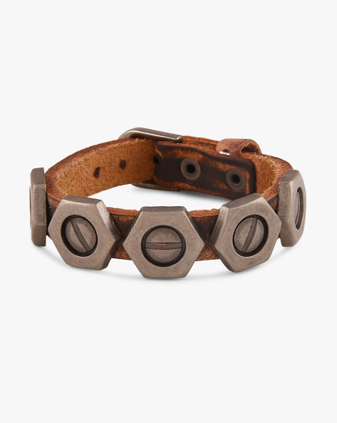 Faux Leather Bracelet With Metallic Rivets By ALPHA MAN ( Brown )
