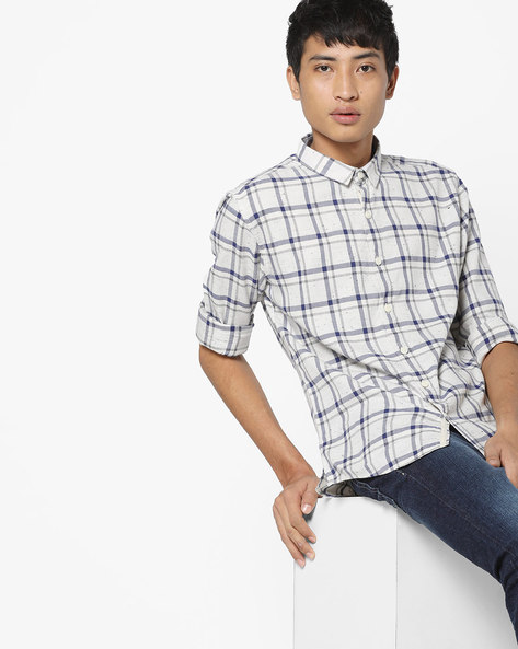 Checked Slim Fit Shirt By VOI JEANS ( Offwhite )