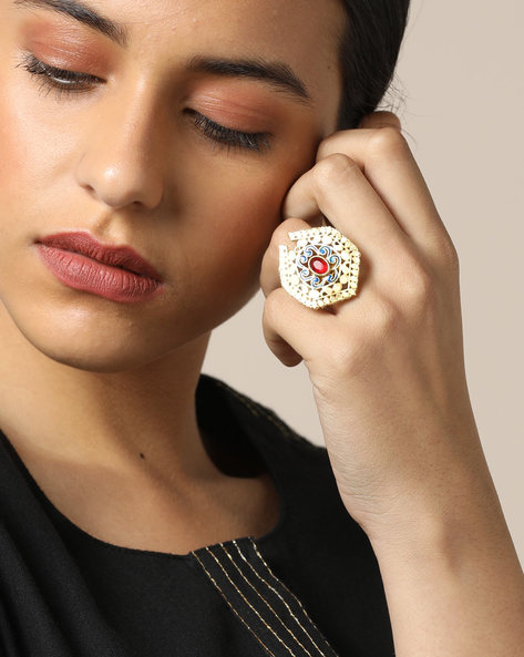 Matte Finish Brass Enamel Polki  Ring By Indie Picks ( Multi ) - 460161712001