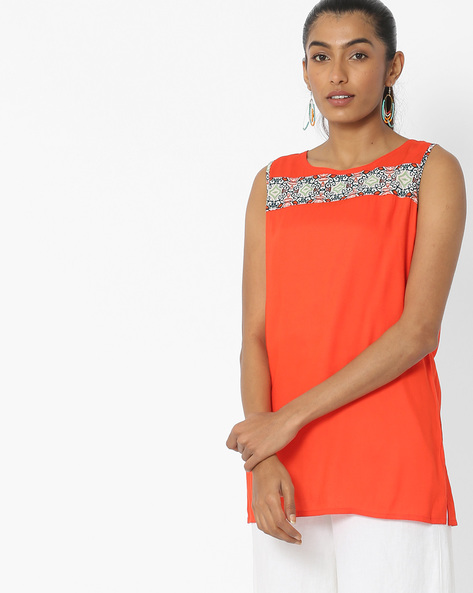 Sleeveless Top With Printed Panel By Desi Fusion ( Orange )