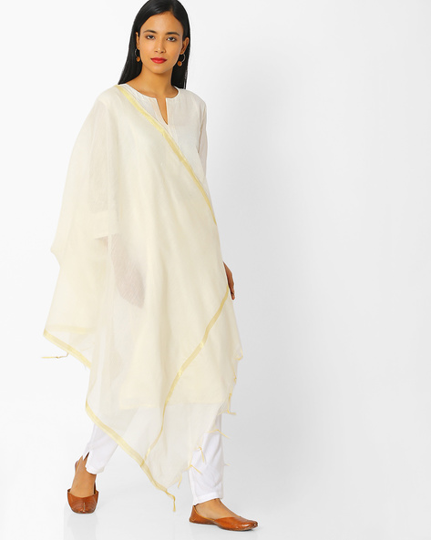 Chanderi Dupatta With Zari Border By Melange By Lifestyle ( Offwhite )
