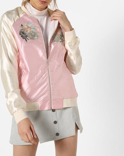 Front-Zip Colourblock Jacket By AJIO ( Pink )