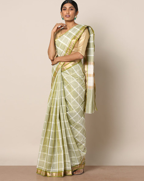 Kanchi Cotton Checked Saree With Zari Border By Indie Picks ( Green )