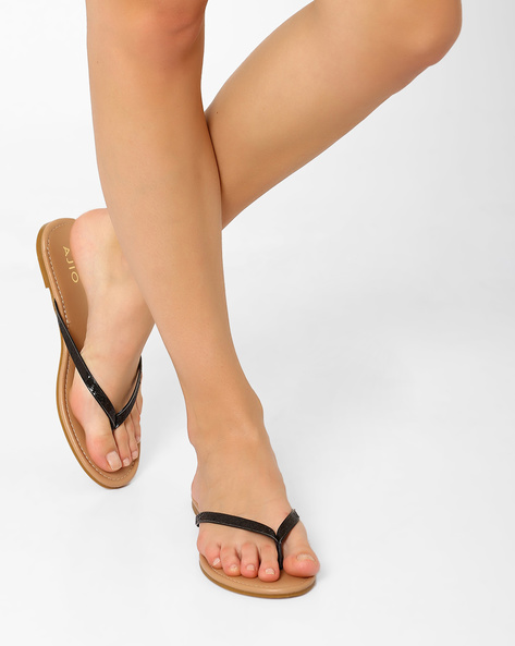 Thong-Style Flat Sandals By AJIO ( Black )