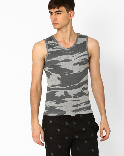 Camouflage Print Cotton Vest By Killer ( Grey )