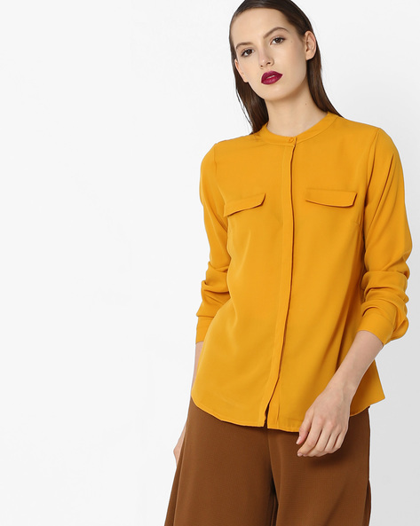 Top With Concealed Button Placket By Project Eve WW Work ( Yellow )