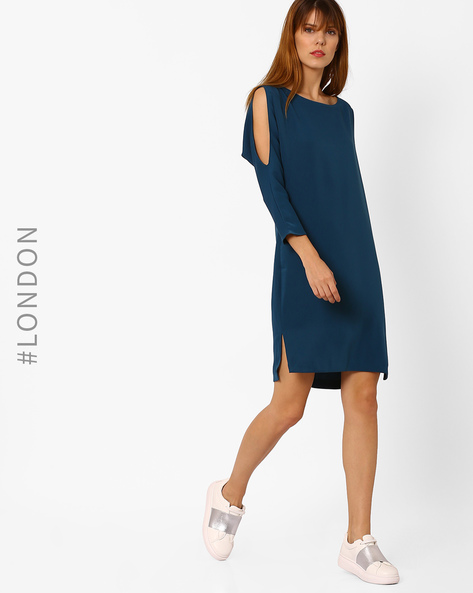 Shift Dress With Cold-Shoulder Sleeves By Closet London ( Teal )