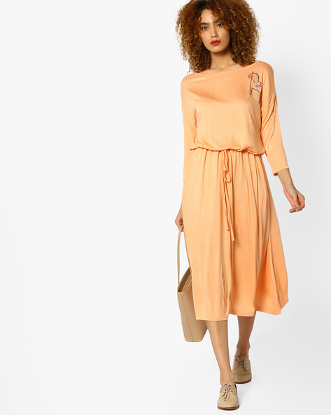 Knitted Dress With Placement Embroidery By AJIO ( Peach )