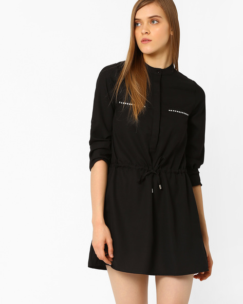 Shirt Dress With Tie-up Detail By CHM ( Black )