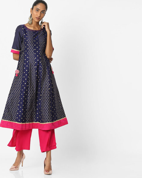 Printed A-line Kurta With Side Tie-Ups By AVAASA SET ( Navy )