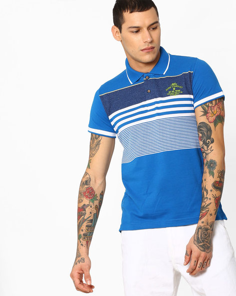 Polo T-shirt With Striped-Tipped Hems By DUKE ( Ltgreen )