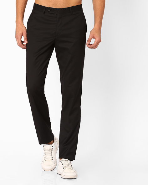 Northrop Classic Flat-Front Trousers By Wills Lifestyle ( Black )