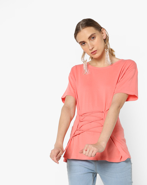 T-shirt With Waist Tie-Up By AJIO ( Lightpink )