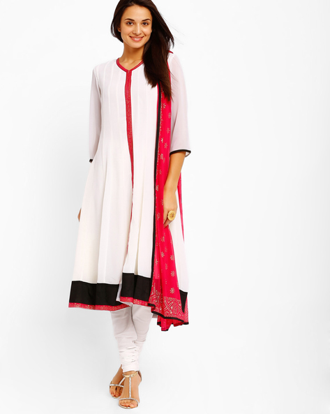 Anarkali Churidar Kurta With Dupatta By AJIO ( White )