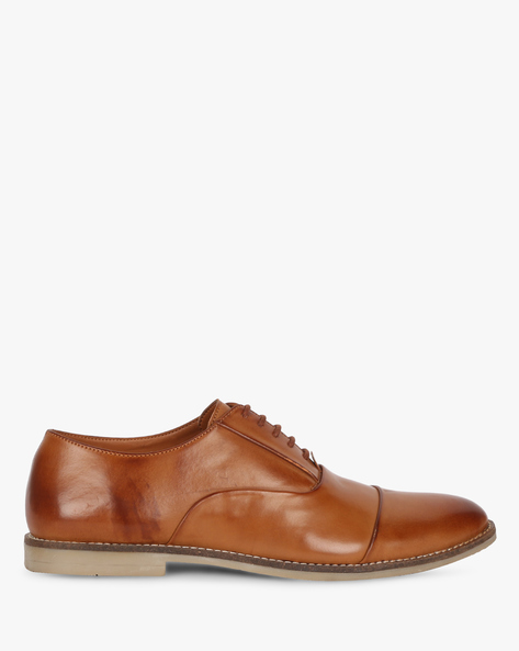N9-Treated Lace-Up Formal Shoes By AJIO ( Tan )