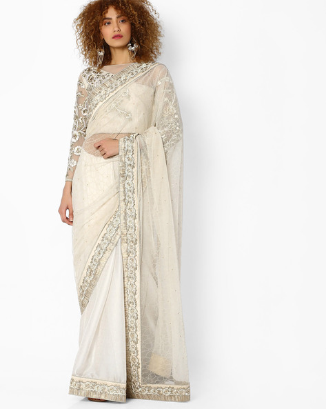 Self-Design Saree With Embroidery By Mahotsav ( Offwhite )