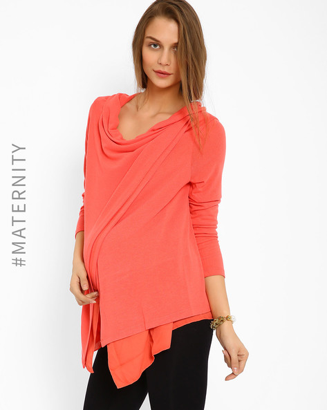 Maternity Feeding Wrap Shrug By AJIO ( Coral )