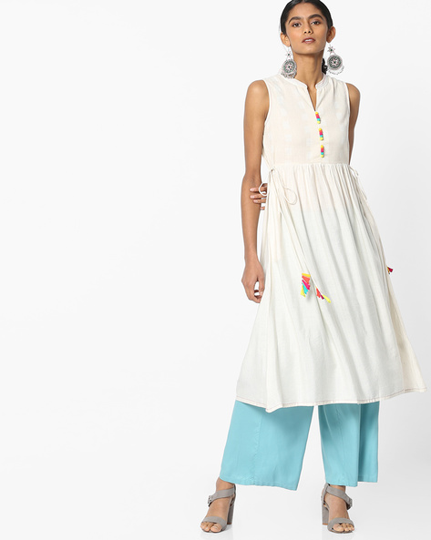 Sleeveless A-line Kurta With Tassel Tie-Ups By AVAASA MIX N' MATCH ( Offwhite )