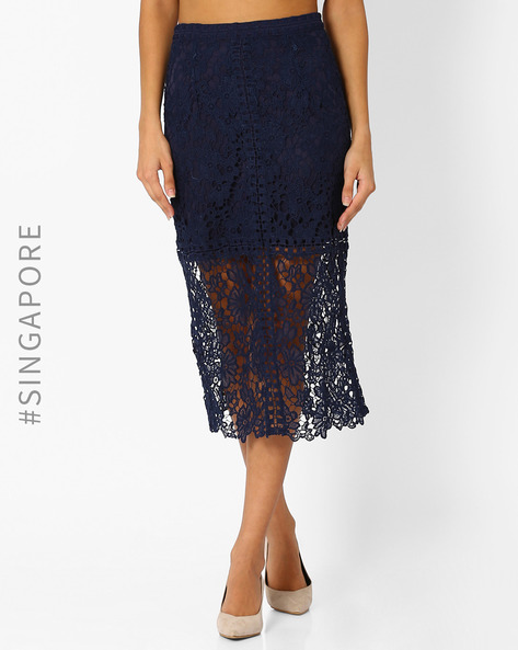 Crochet Midi Skirt By MDS ( Navyblue )