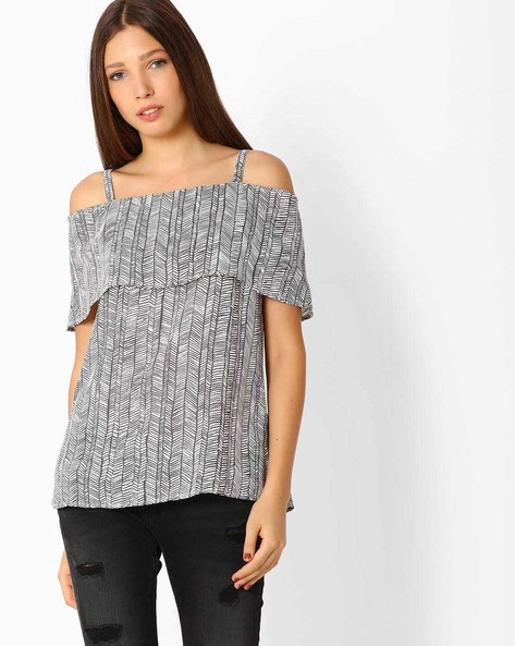 Printed Cold-Shoulder Top By Femella ( White )