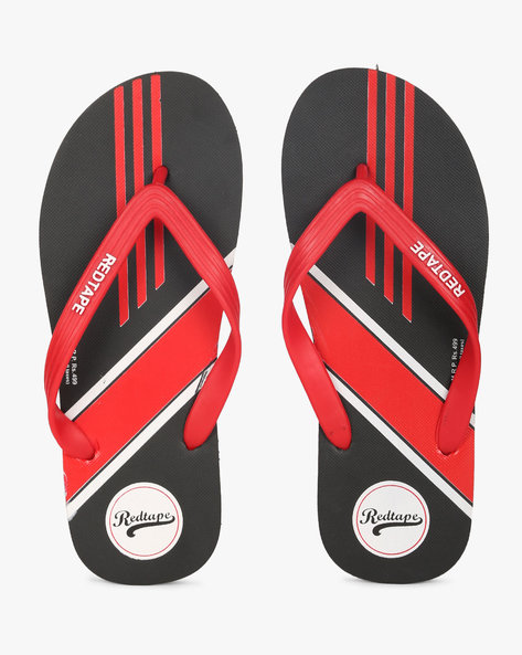 Printed Thong-Style Flip-Flops By RED TAPE ( Black )
