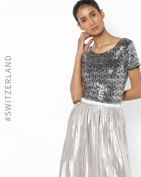 Sequinned Top With Scoop Back By TALLY WEiJL ( Grey )