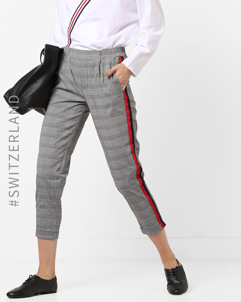 Checked Cropped Trousers With Contrast Taping By TALLY WEiJL ( Multi )