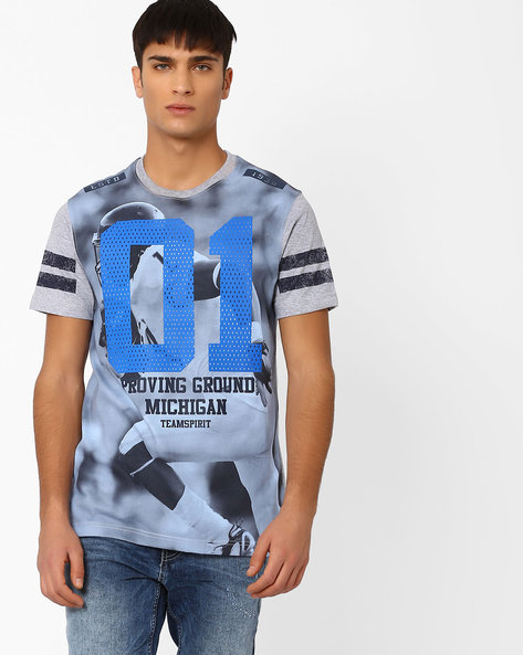 Graphic Print Cotton T-shirt By TEAM SPIRIT ( Greymelange )