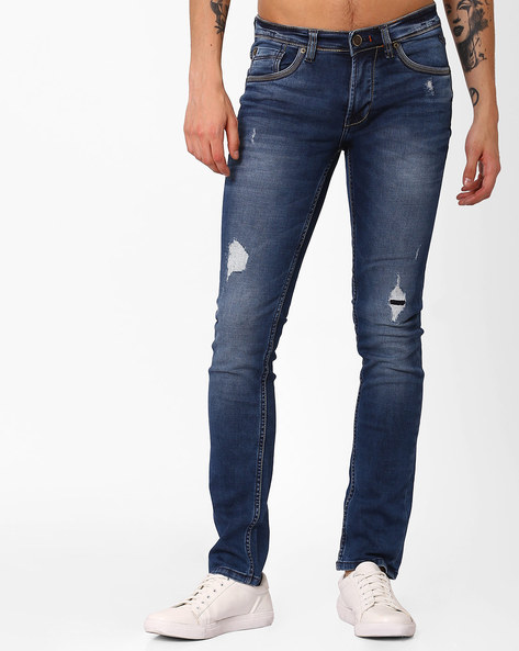 Mid-Wash Distressed Jeans By Killer ( Darkblue )