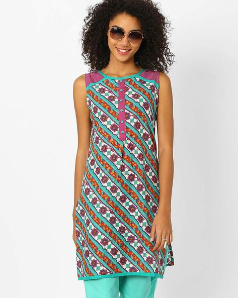 Printed Straight Kurta With Mock Placket By AJIO ( Teal )