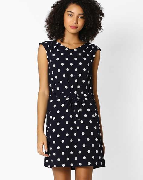 Polka-Dot Print Dress With Tie-Up By RIO ( Navy )