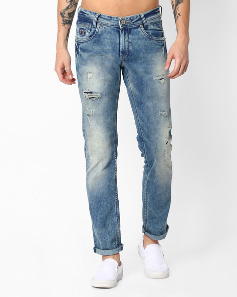 Distressed & Faded Super Slim Jeans By MUFTI ( Lightblue )