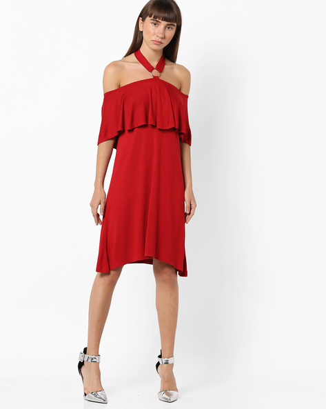 Off-Shoulder Dress With Ruffle Panel By AJIO ( Red )