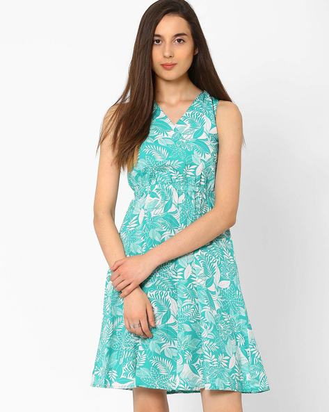 Printed Fit & Flare Dress By CHM ( Turquoise )