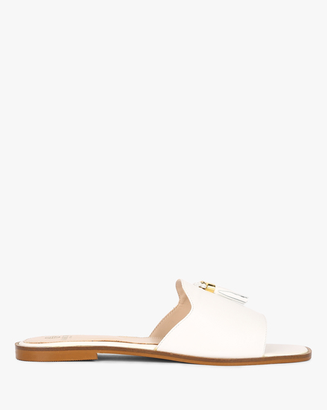 Genuine Leather Mule Shoes With Tassels By Carlton London ( White )
